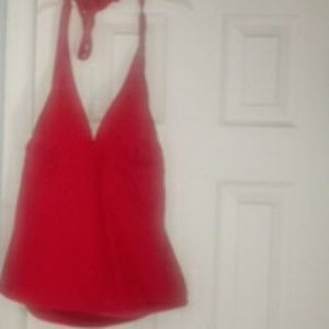 Red halter Swim Top